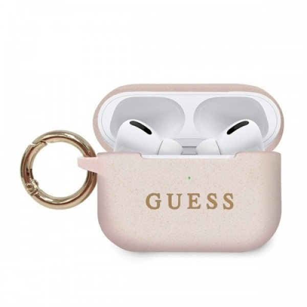Guess Silicone Case For Airpods Pro With Holder Light Pink (GUACAPSILGLLP)