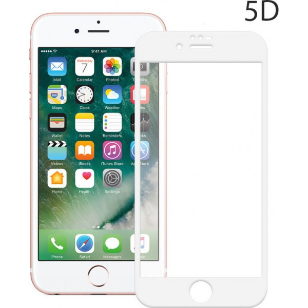 Powertech 5D Full Glue Full Face Tempered Glass White (iPhone 8)