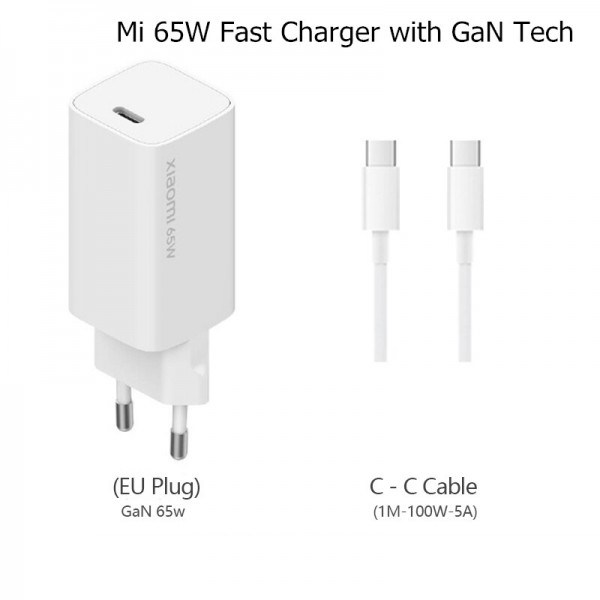 Xiaomi USB Type-C Cable & Wall Adapter Λευκό (BHR4499GL)
