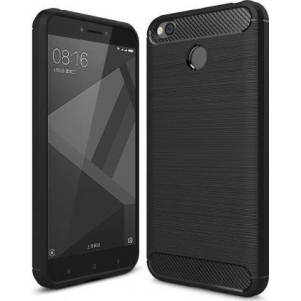 Θήκη Brushed Carbon Back Case για Xiaomi Redmi 4X Μαύρη OEM + ΔΩΡΟ TEMPERED GLASS